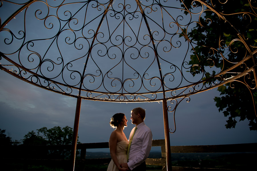 creative, fun, romantic photo of bride and groom at Bluemont Vineyard