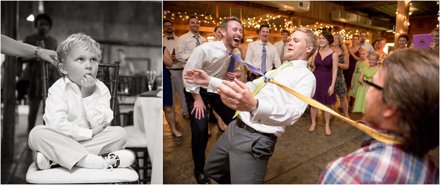 funny photo of kid at reception and wild tie limbo party pic at Bluemont Vineyard
