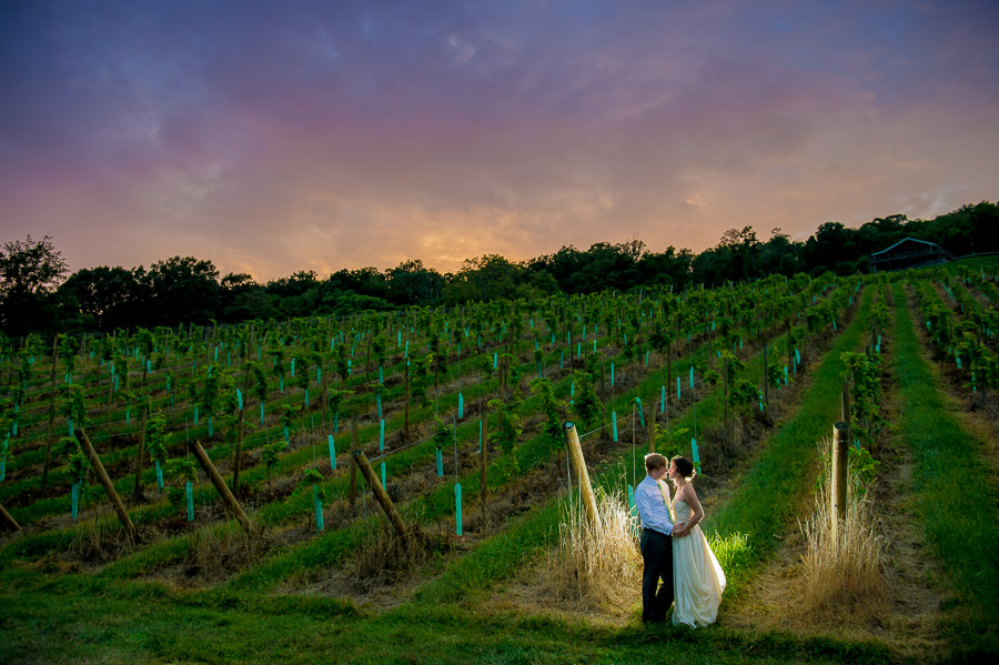 romantic, colorful, unique, vineyard sunset portrait of wedding couple at Virginia winery