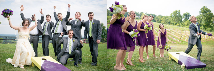 fun, quirky, wedding party portraits playing cornhole