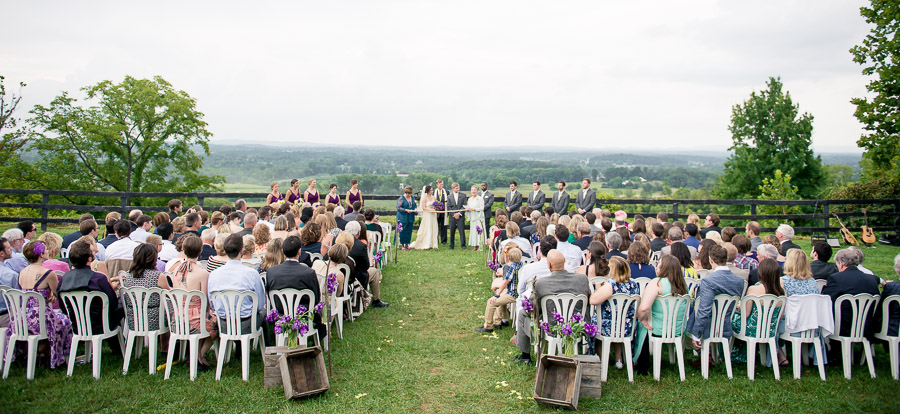 scenic, beautiful, wedding ceremony photo at Bluemont Vineyard in Virginia