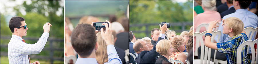 funny photos of wedding guests taking photos at Bluemont Vineyard wedding