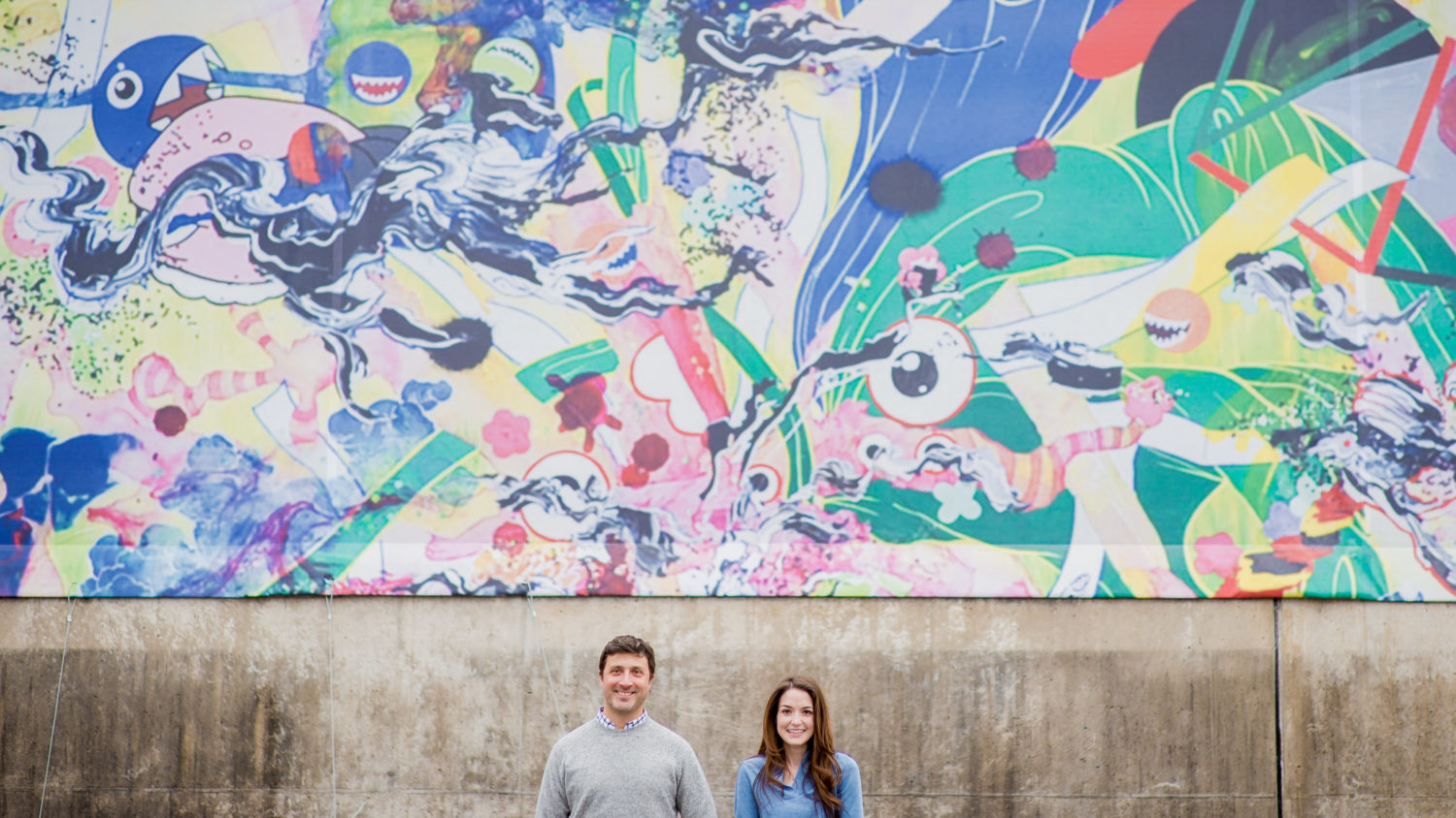Colorful and modern Engagement Photos in downtown Richmond Virginia