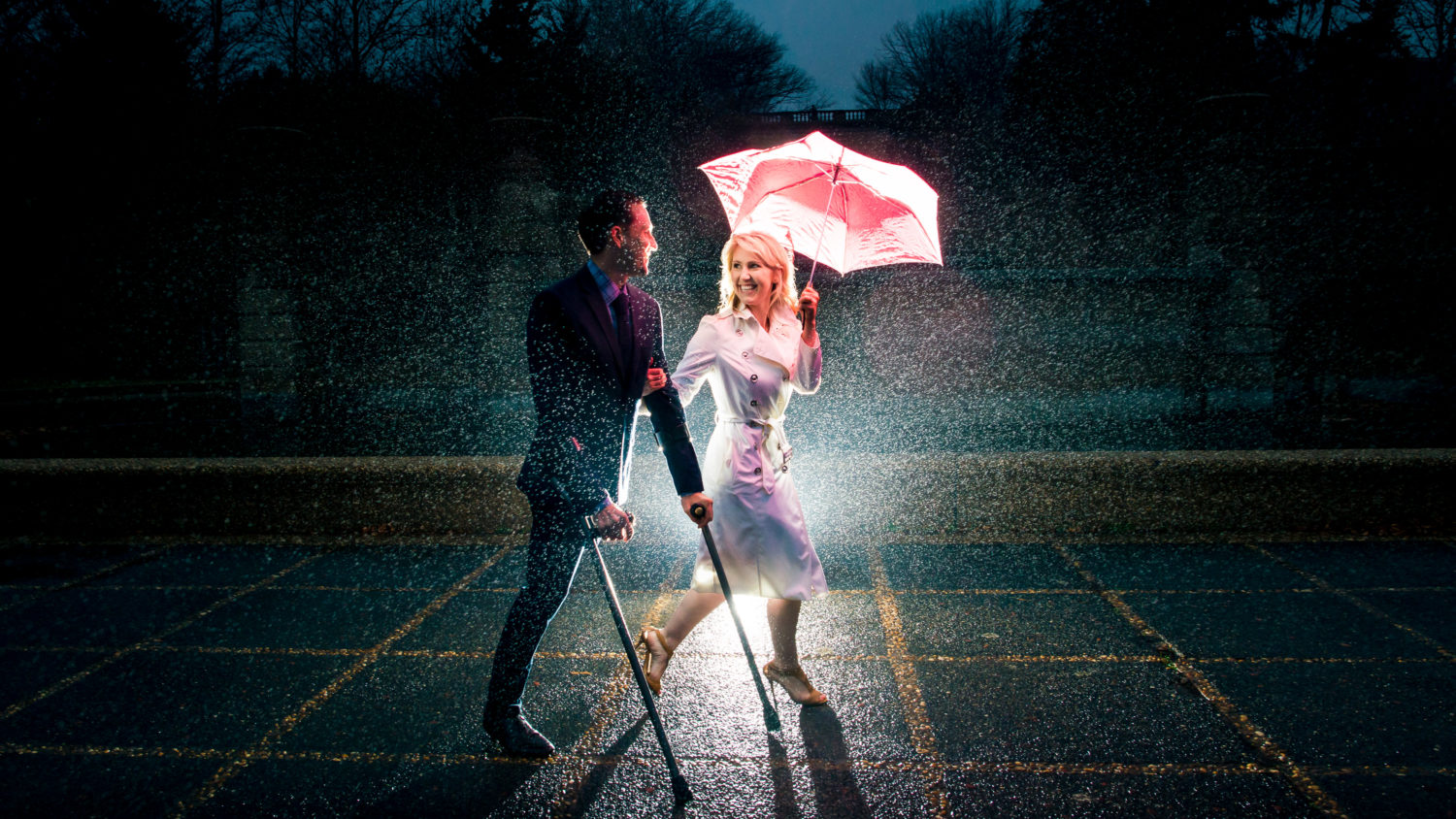 Josh + Ashley's Engagement Shoot in the Rain in DC