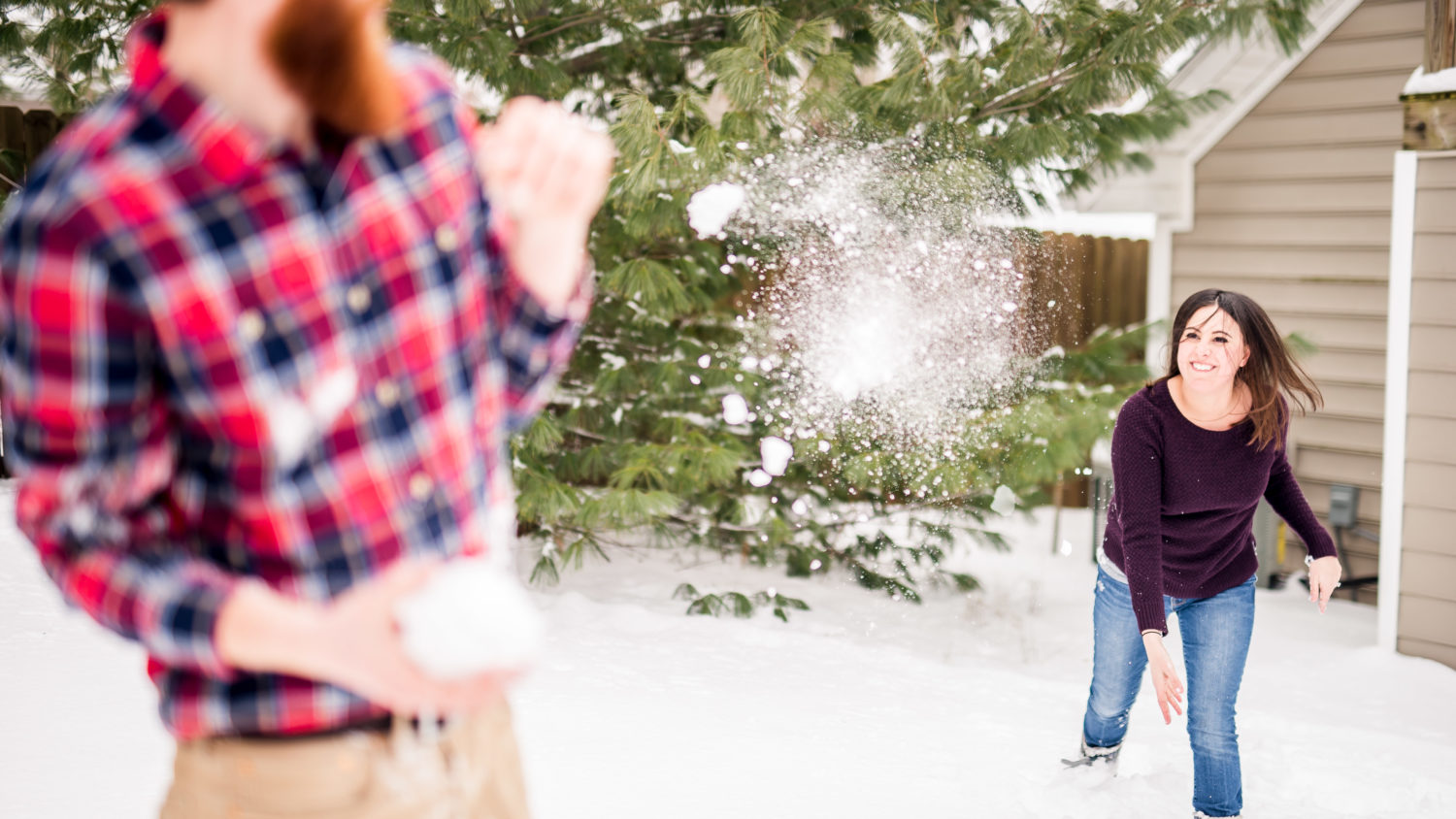 snowball fight engagement photos
