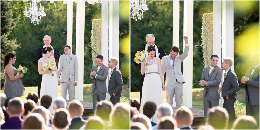 funny, sweet, touching moment right after wedding ceremony at Indianapolis wedding