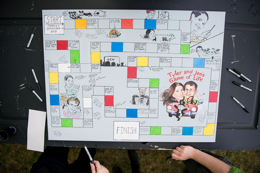 creative, fun, DIY wedding guest book game board art for guest sign in