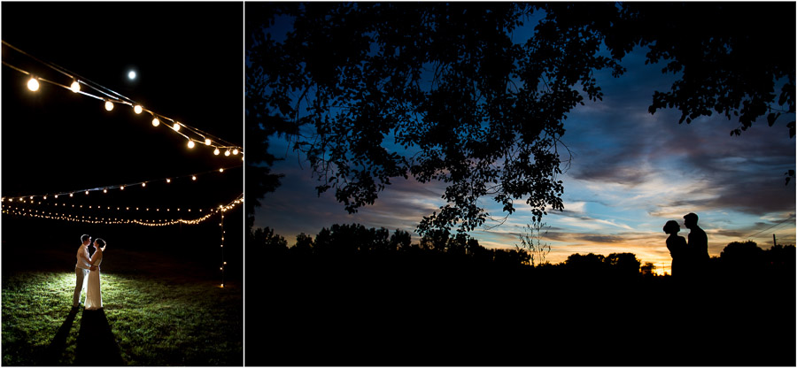 romantic and creative nighttime sunset photos of bride and groom at Indiana farm outdoor wedding