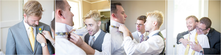 Funny groom and groomsmen getting ready and helping each other before Indiana wedding