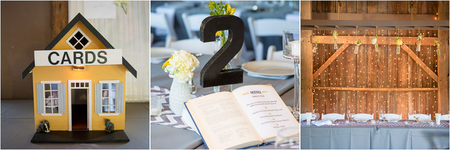 homemade DIY wedding card table and table numbers with vintage books