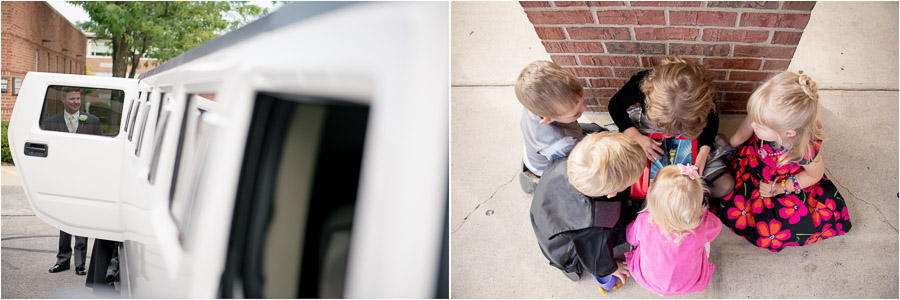 cute kids hanging out after wedding ceremony and groom with white stretch hummer limo