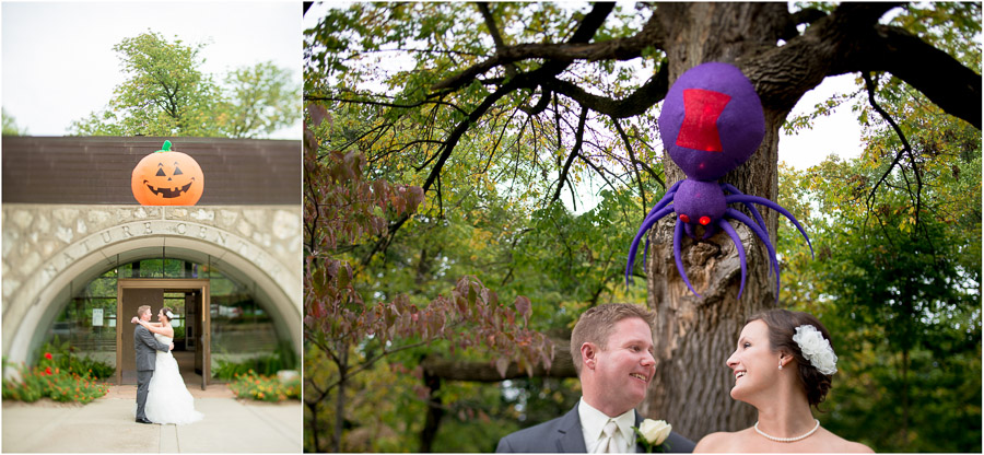 spooky spider and pumpkin with bride and groom at October wedding in Indianapolis