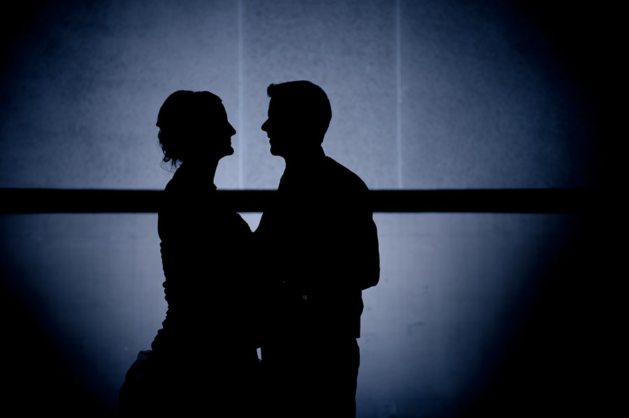 romantic, creative silhouette of bride and groom at Indianapolis, Indiana wedding