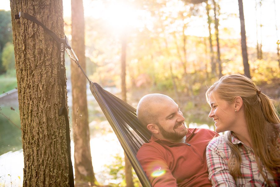 Cute engagement photo in hammock