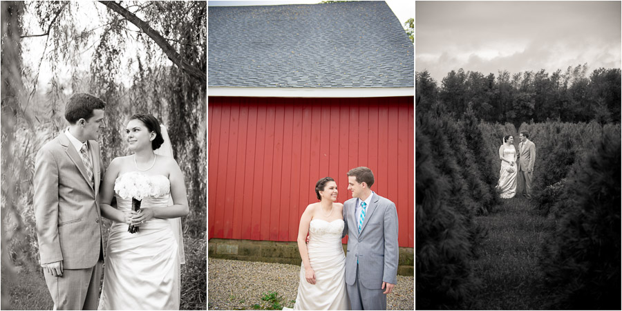 Dull's Tree Farm Wedding on rainy day! Still lovely!