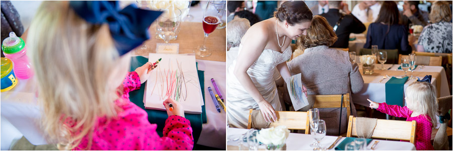 Cute moment at wedding when girl draws a picture for bride