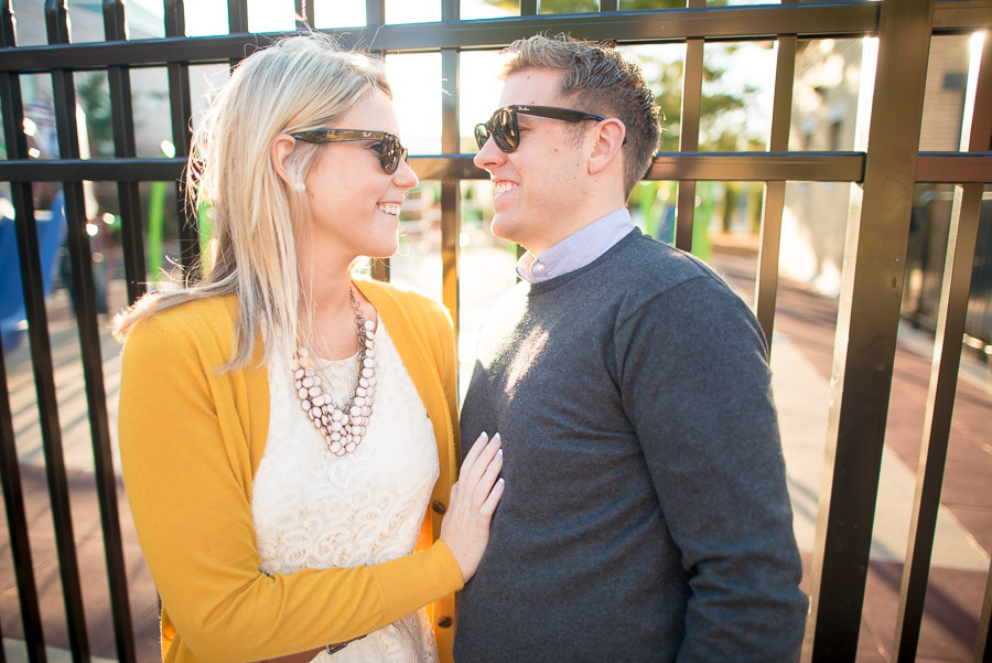 cool couple in sunglasses at Indy Children's museum engagement session