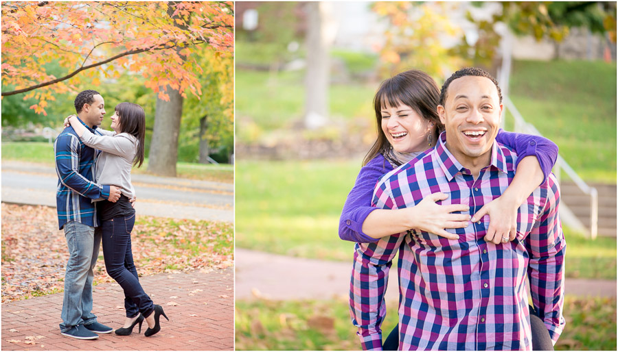 Colorful and fun fall engagement pics, Bloomington