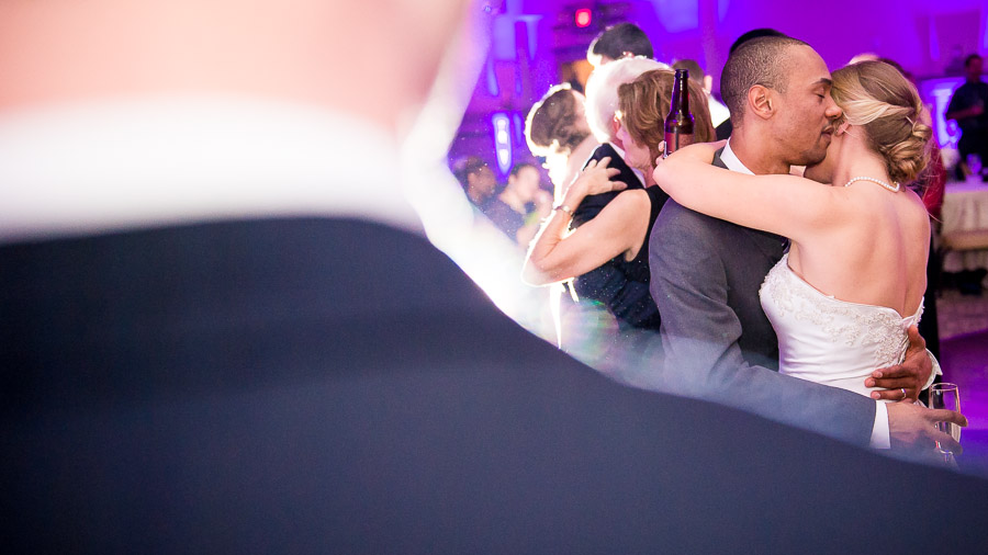 Romantic moment on dance floor with bride and groom at Richmond, VA wedding