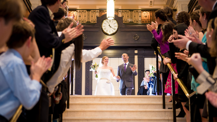 Fun wedding exit at John Marshall Ballroom wedding in Richmond, VA