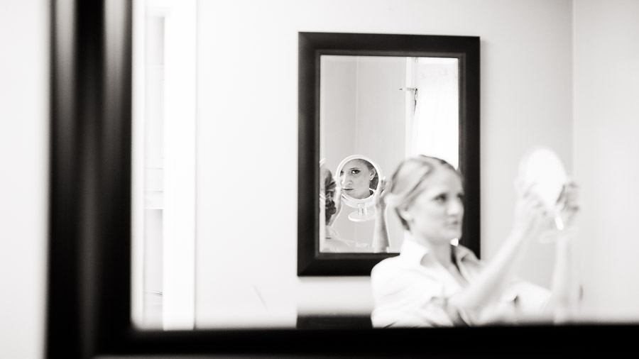Elegant black and white portrait of bride getting ready at Richmond, VA wedding