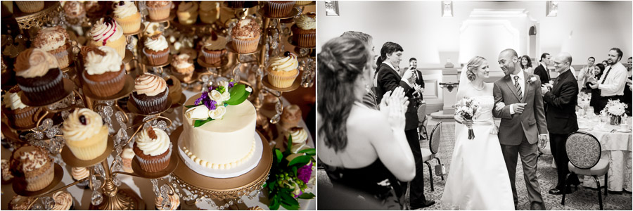 Fancy cupcake display and lovey-dovey bride and groom entering reception.