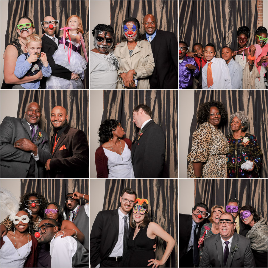 Fun photoboothing action at Halloween wedding! TALL+small