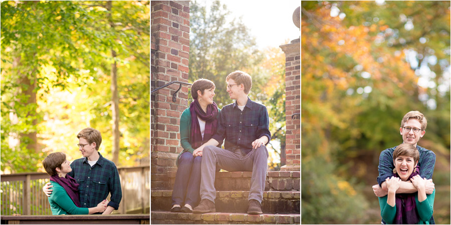 Colorful, sunny, Fall engagement photos in Williamsburg, VA
