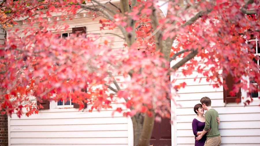 Colorful, creative, and fun engagement photos in downtown Colonial Williamsburg, VA