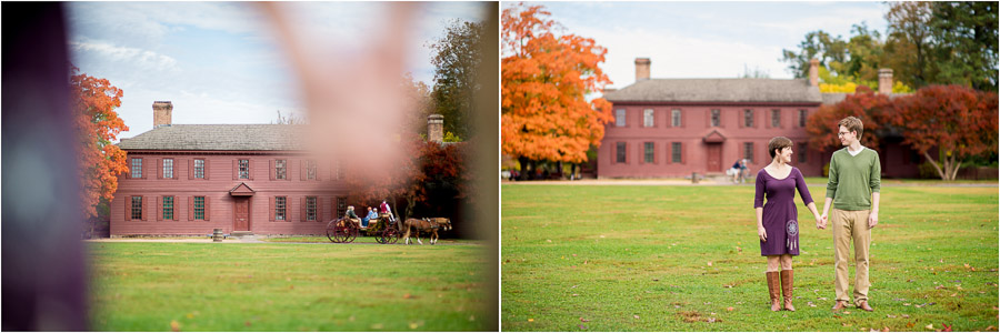 Engagement photos in front of haunted house and horse drawn carriage in Colonial Williamsburg, VA