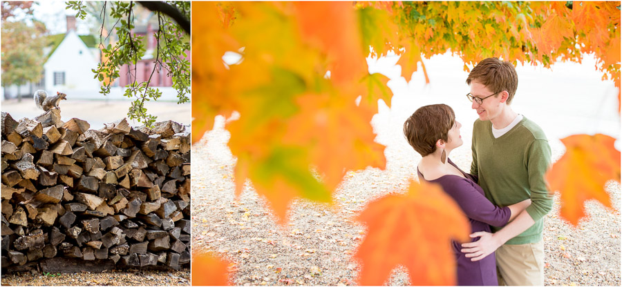Fall engagement photos and funny squirrel at Colonial Williamsburg, Virginia