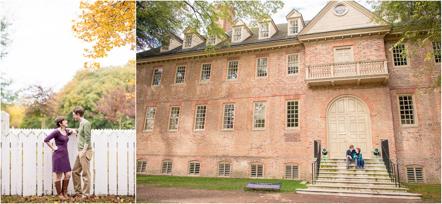 laid-back engagement photos at William and Mary and Colonial Williamsburg