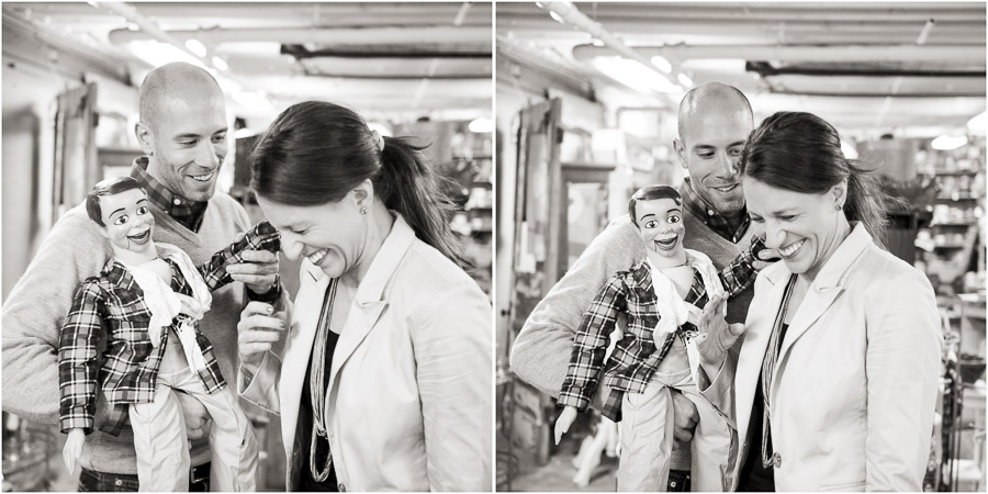 Funny and creepy engagement photos with ventriloquist dummy at Bloomington Antique Mall