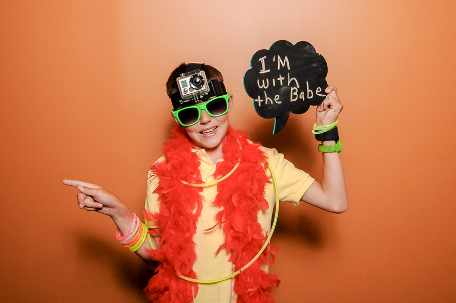 Very cute boy with funny props in photobooth at Indianapolis, IN wedding