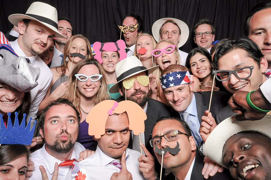 Very crowded and fun photobooth photo from Virginia wedding