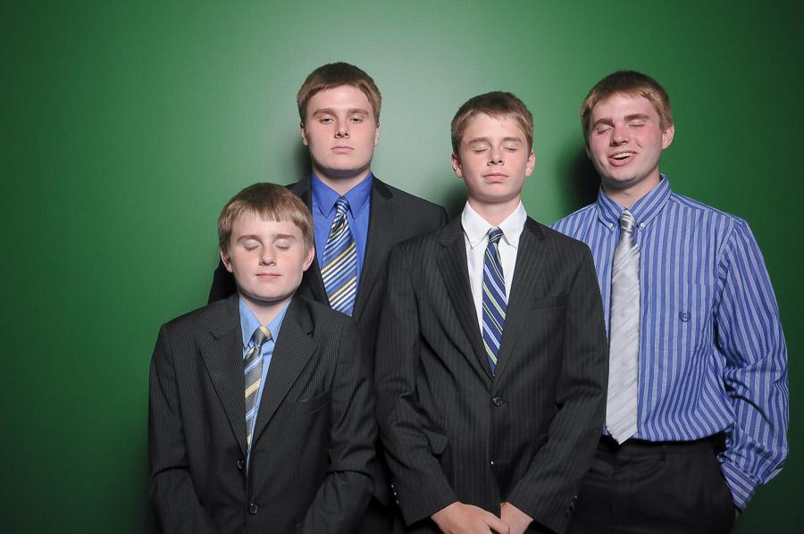 Hilarious photobooth photo of four dudes blinking at Indianapolis Indiana wedding