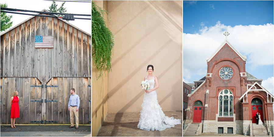 Colorful, architectural, outdoor engagement and wedding portraits