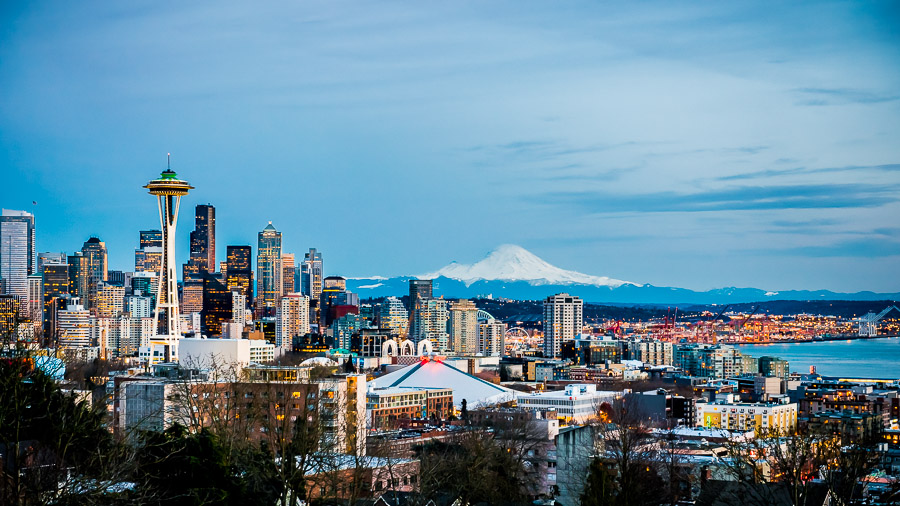 Travel photography, fun cityscape of Seattle, Washington.