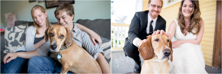Dogs in engagement photos, dogs in wedding photos. Go dogs!