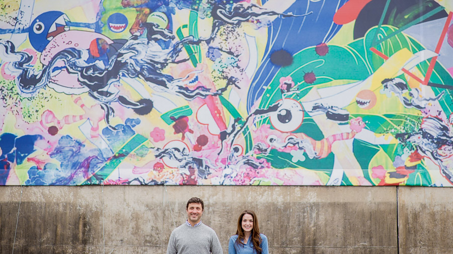 Fun and colorful graffiti at downtown Richmond, Virginia engagement shoot