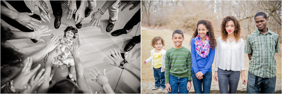 Cute kid on the dance floor and sweet cousins photo at a family photo shoot.