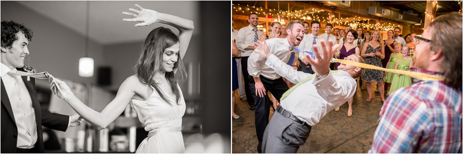 Funny first dance pic and groom doing tie limbo on wild dance floor!