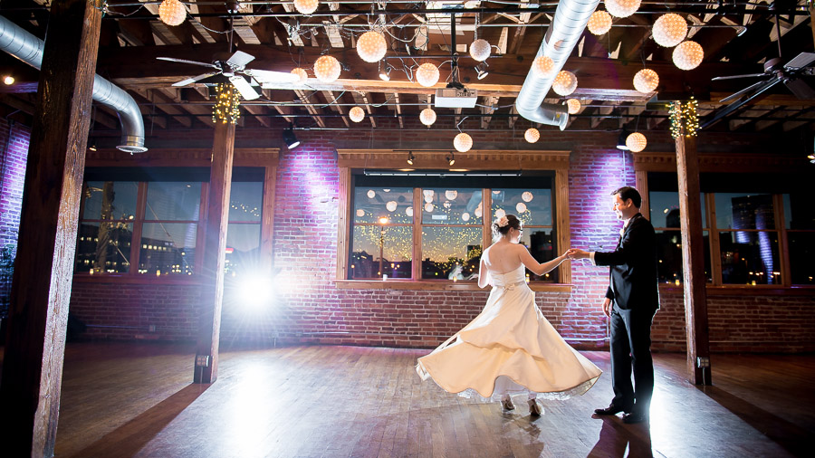 Twirly dress first dance photo with lanterns at The Mavris in Indy.