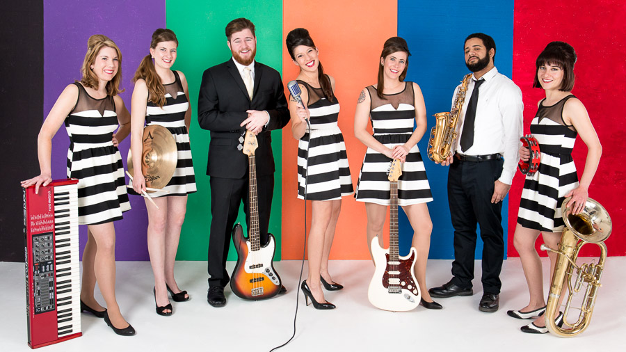 Bright, colorful, and fun promotional photos for Bloomington band, The Vallures
