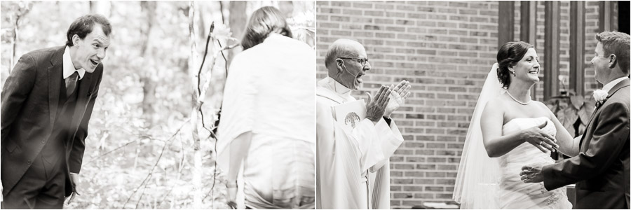 Great reaction shots from groom's first look, and priest's announcement by TALL + small Photography