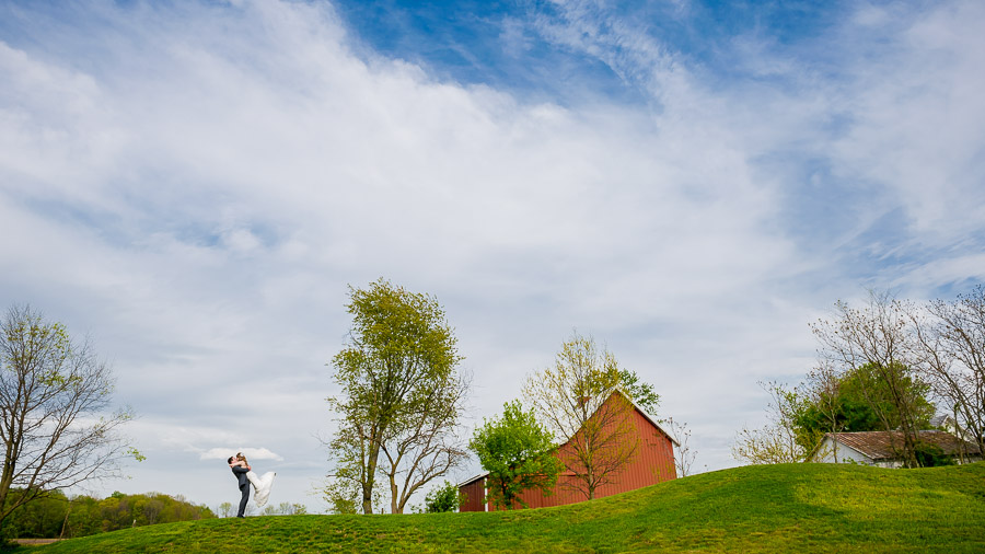 Beautiful, romantic outdoor portraits of bride and groom at Purgatory Golf Club in Indiana