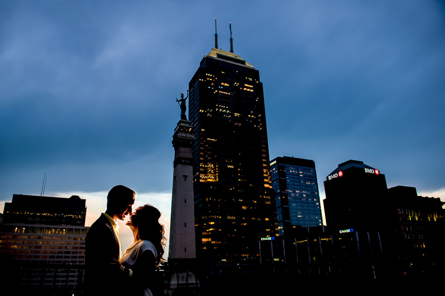 romantic, downtown Indianapolis engagement photos with city skyline by TALL + small Photo