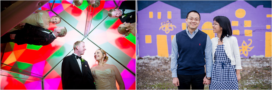 Colorful and quirky wedding and engagement photos at the Indy Kids Museum and downtown Bloomington.