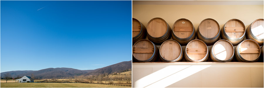 Beautiful views and wine barrels at King Family Vineyard wedding in Crozet, VA