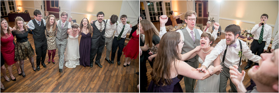 Fun dancing and singalong at King Family Vineyard winter wedding